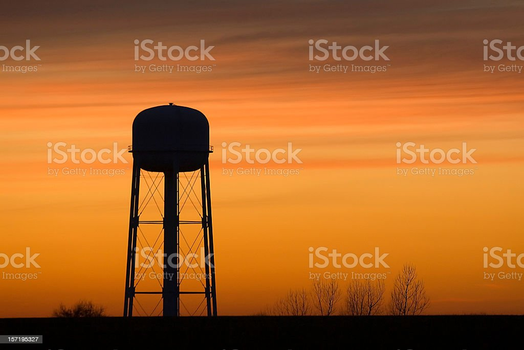 Water Tower at Sunset stock photo