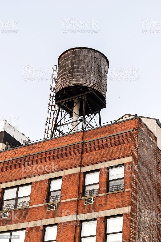Water tower in Midtown Manhattan stock photo