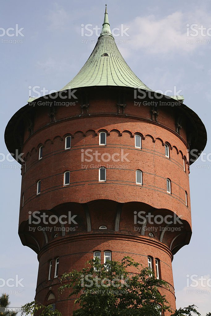 Water tower in the city of Cuxhaven (North Sea) stock photo