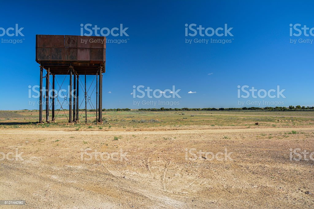 Water tower in the middle of the outback of Australia stock photo