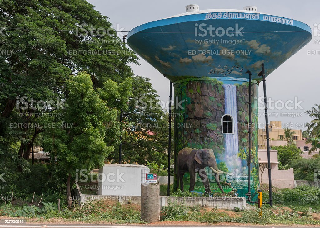 Water tower in Trichy town. stock photo