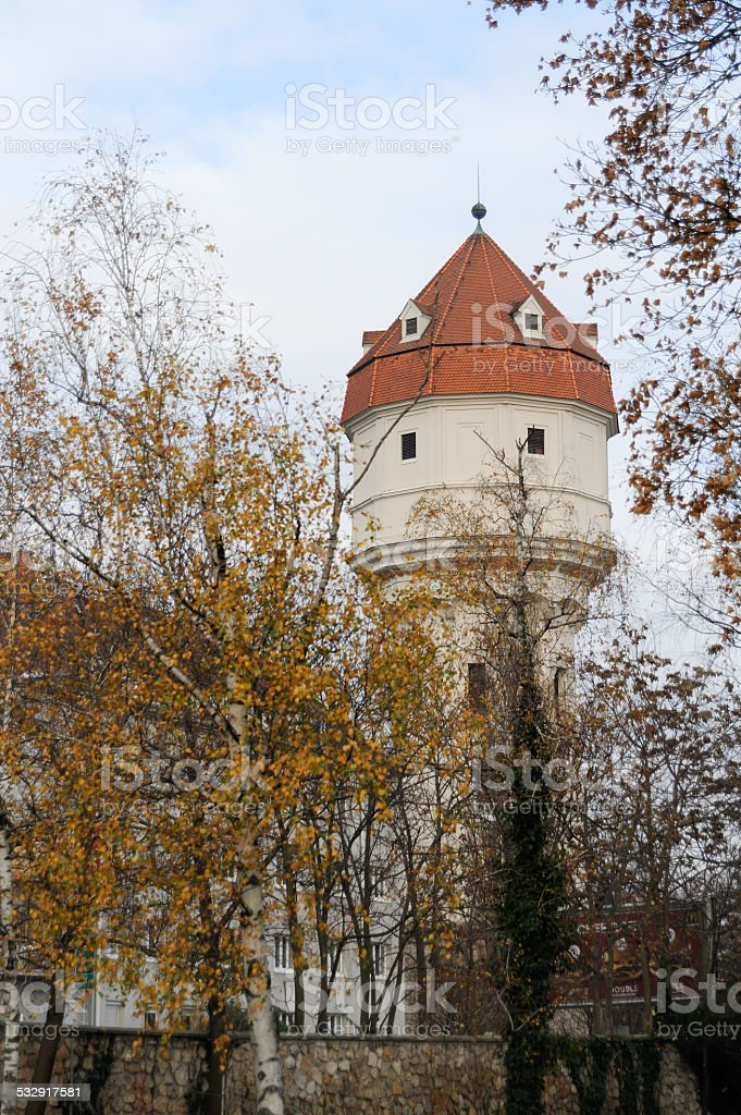 Water tower of Wr. Neustadt in Austria stock photo