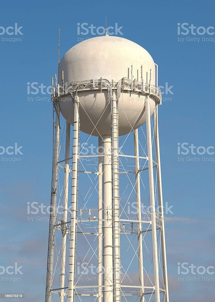 Water Tower on Blue Sky stock photo