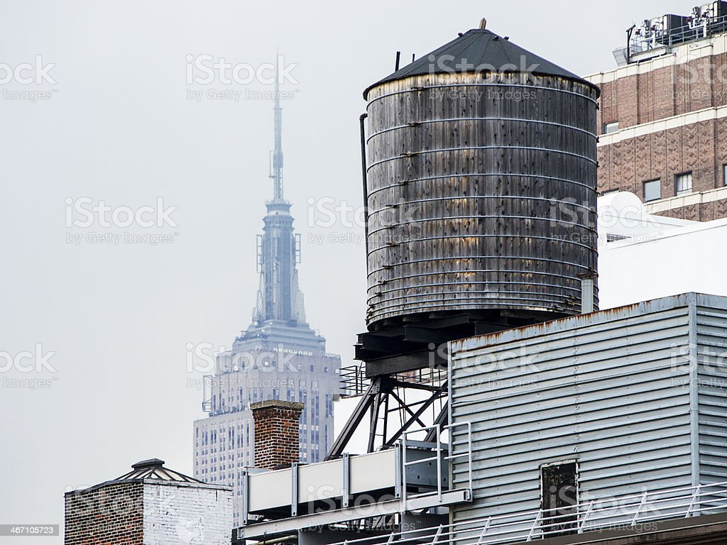 Water Tower With Empire State Building stock photo