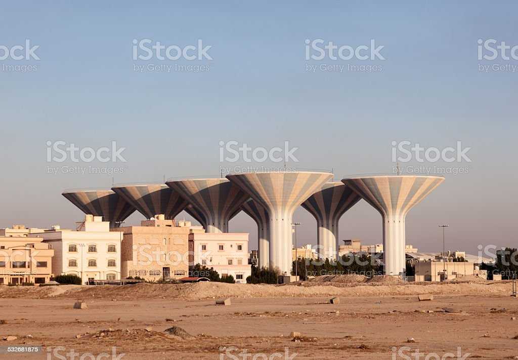 Water Towers in Kuwait stock photo