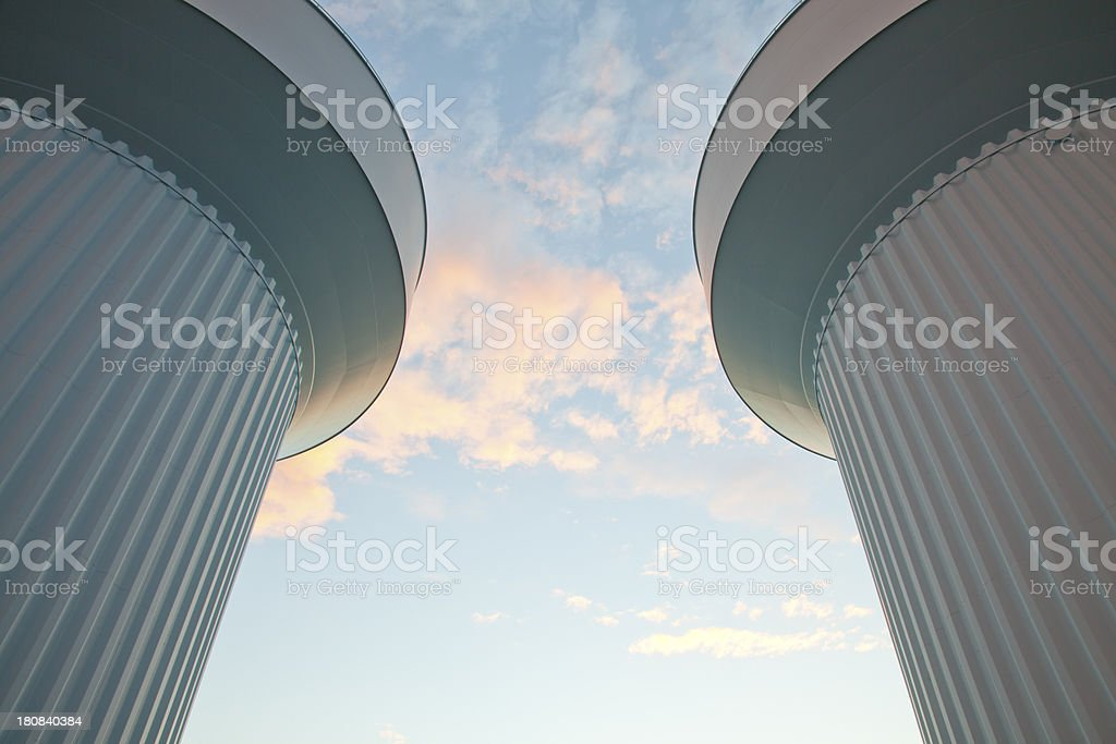 water towers stock photo