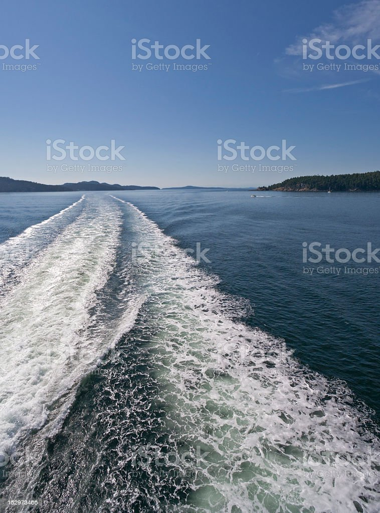 Water Trail behind Ferry royalty-free stock photo