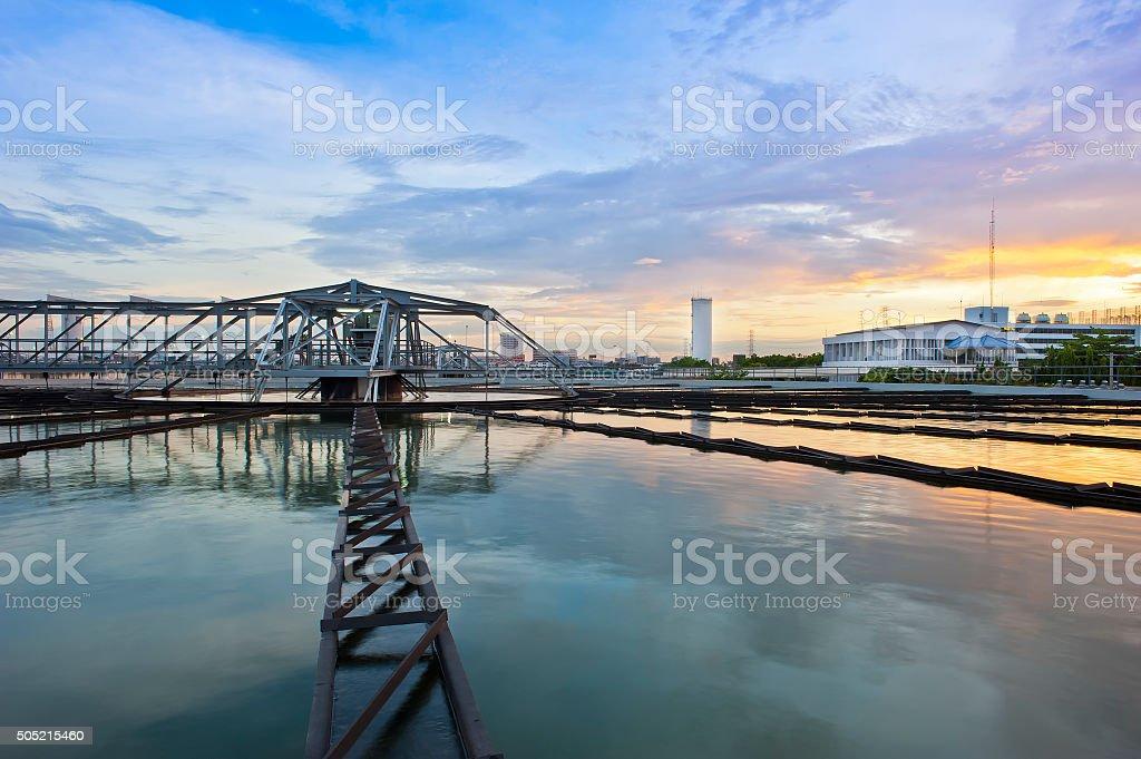 Water Treatment Plant at beautiful twilight sky stock photo