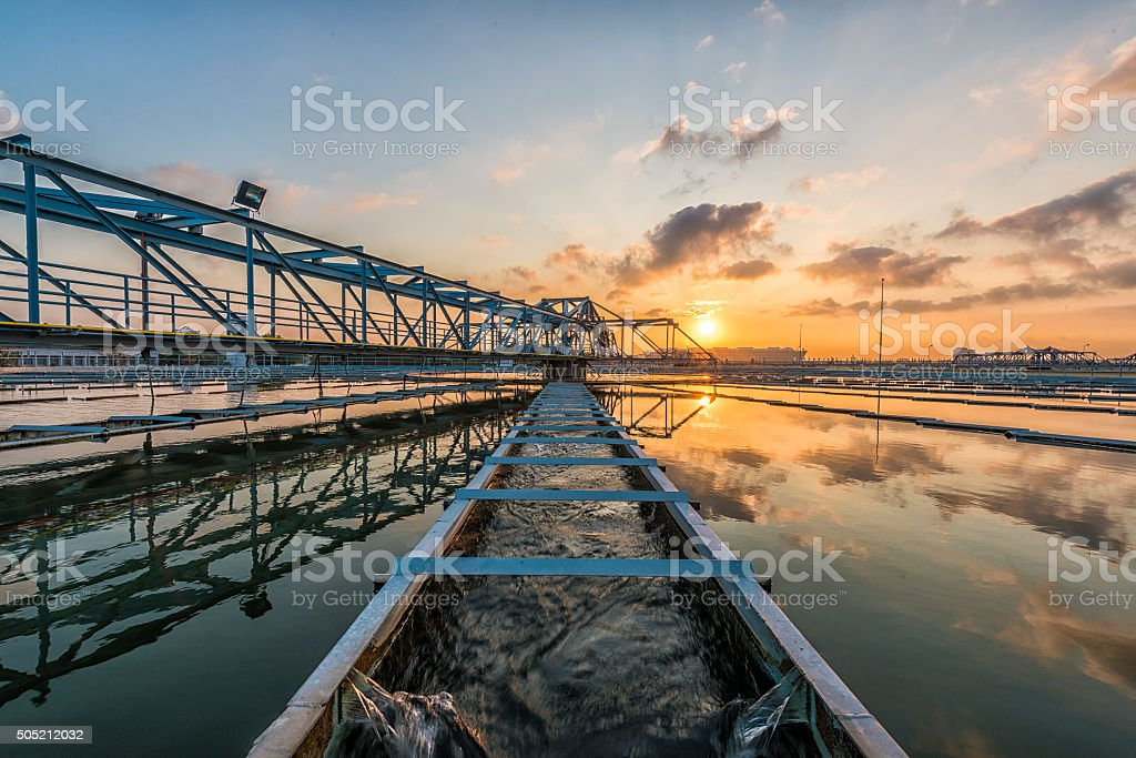 Water Treatment Plant at Sun Rise stock photo