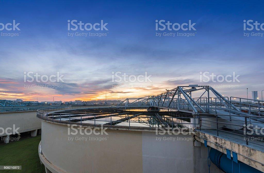 Water Treatment Plant at sunrise stock photo