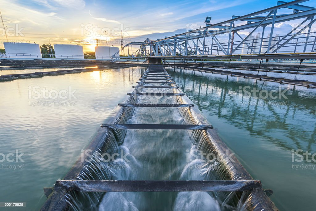 Water Treatment Plant at sunset stock photo