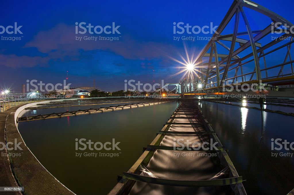 Water Treatment Plant at twilight stock photo