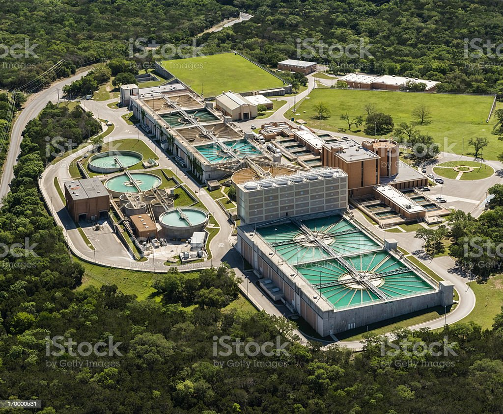 water treatment plant, wastewater bacterial, aeration, sedimentation purification, aerial view stock photo