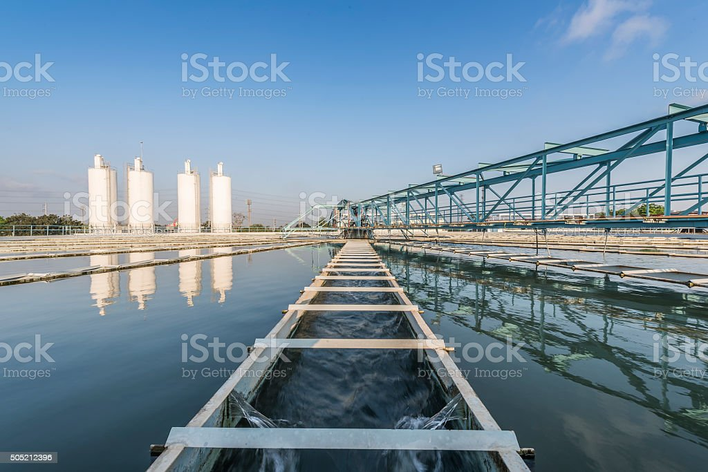 Water Treatment Plant with blue sky stock photo