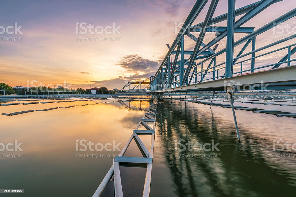 Water Treatment Plant with sunrise stock photo