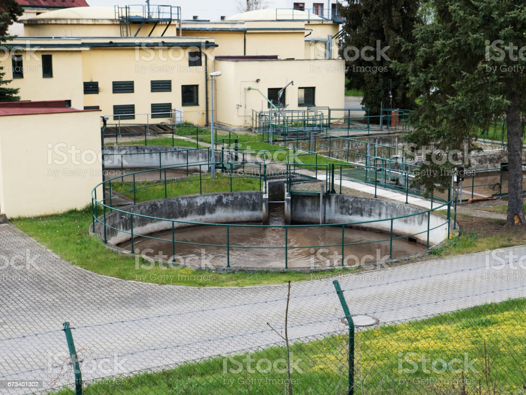 Water treatment realistic building, bacterium purifier. Industrial chemistry cleaner set. stock photo