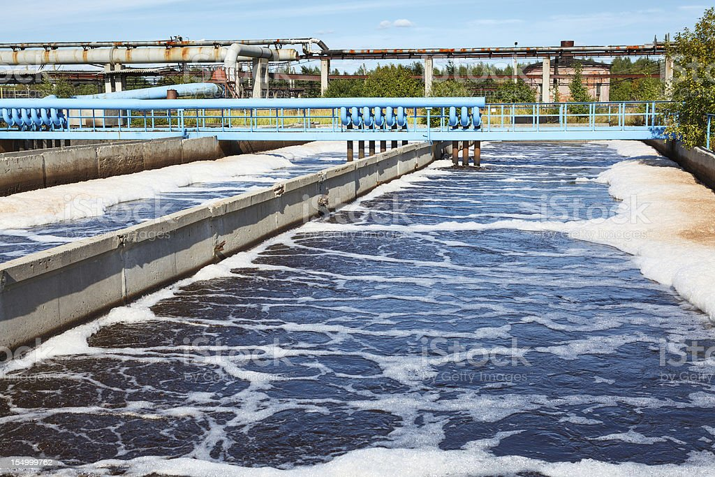 Water treatment tank with wastewater aeration process stock photo
