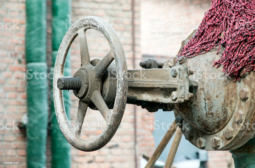 water valve in Old Coal-gas Factory in Beijing,China stock photo