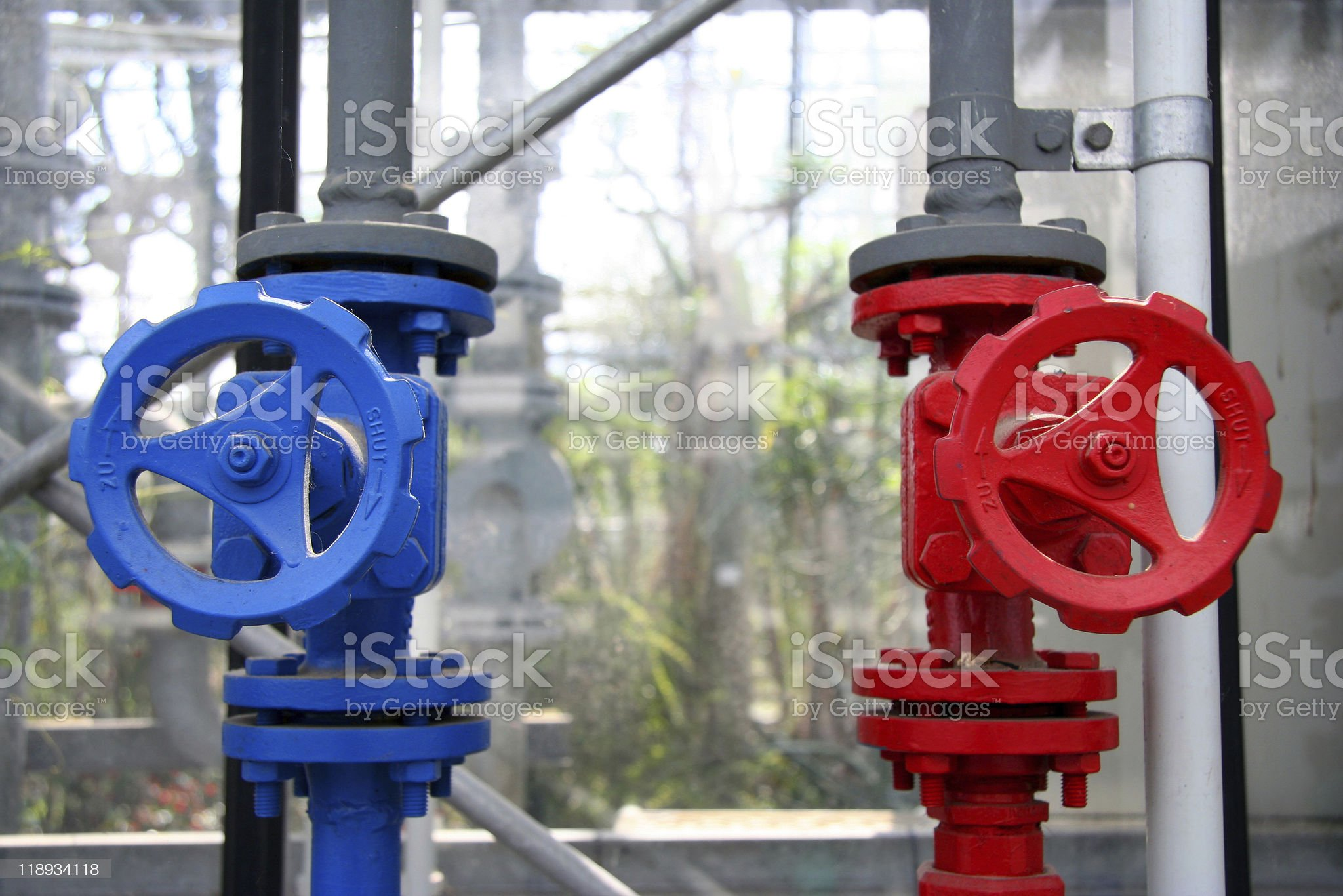 Water Valve in Red and Blue royalty-free stock photo