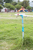 water valve with pvc pipe in garden