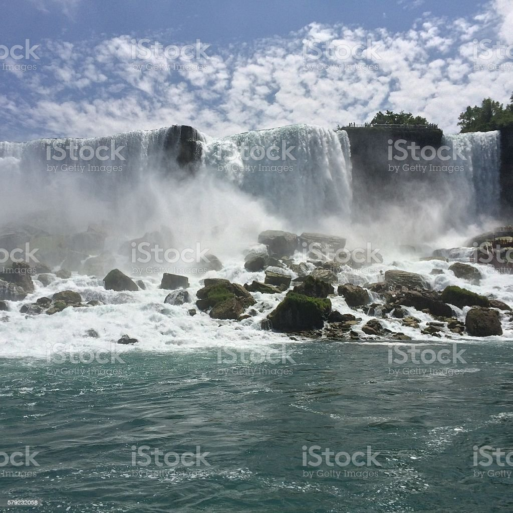 Water view of American and Bridal Veil Fall stock photo