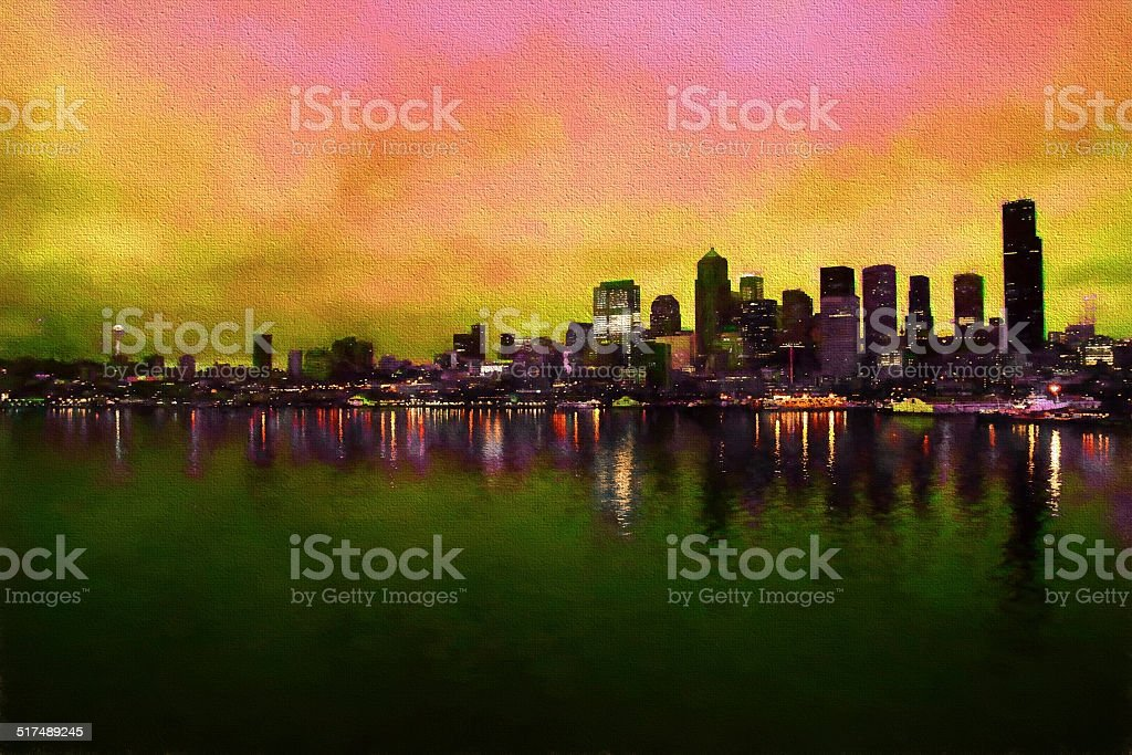Water view of Seattle Washington paint effect stock photo