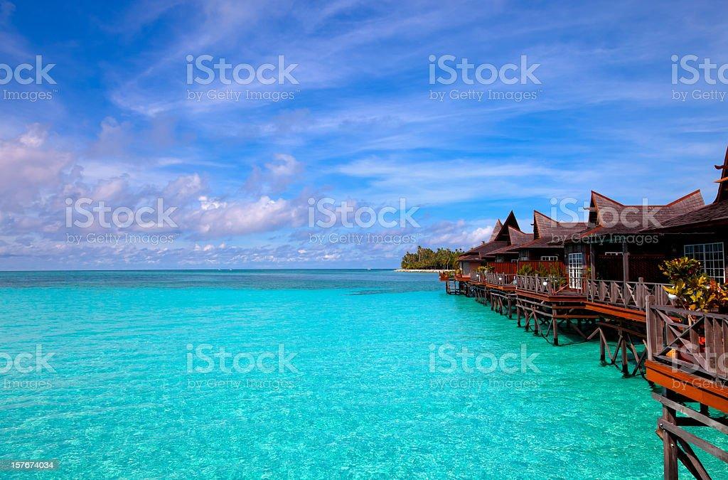 Water village on Mabul island, Sipadan, Borneo Malaysia stock photo