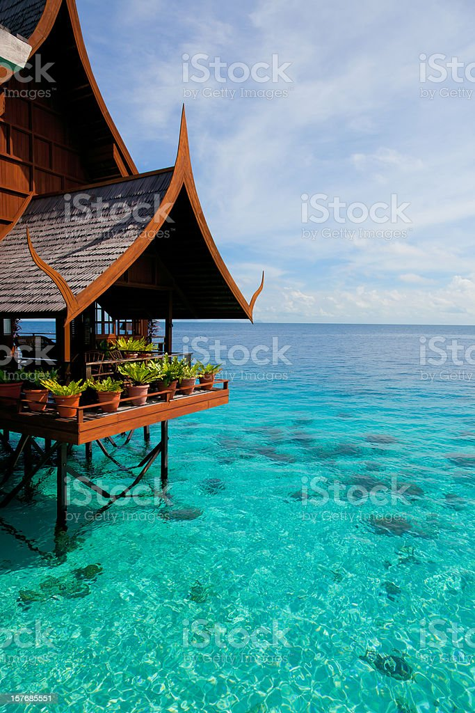 Water village on Mabul island, Sipadan, Borneo Malaysia stock photo