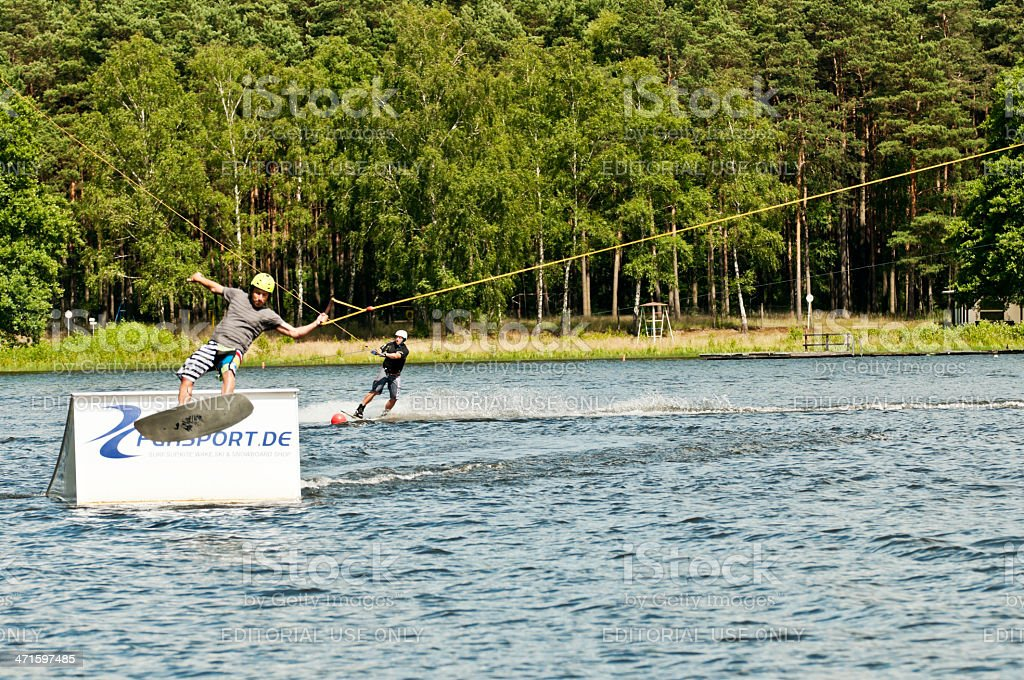 Water wakeboarding jump royalty-free stock photo