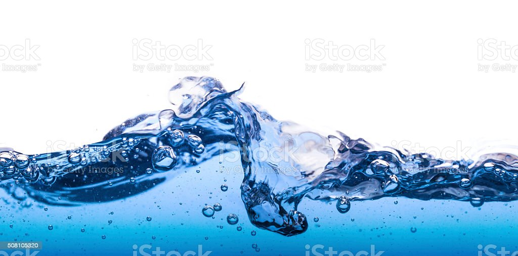 Water wave with bubbles stock photo