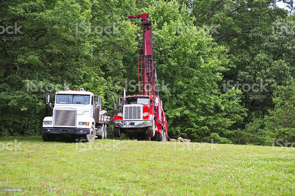 Water well drilling trucks stock photo