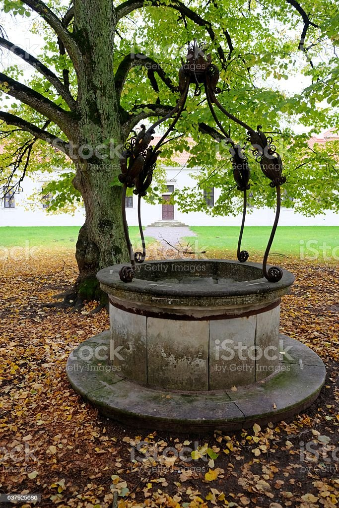 Water well in autumn leaves. stock photo