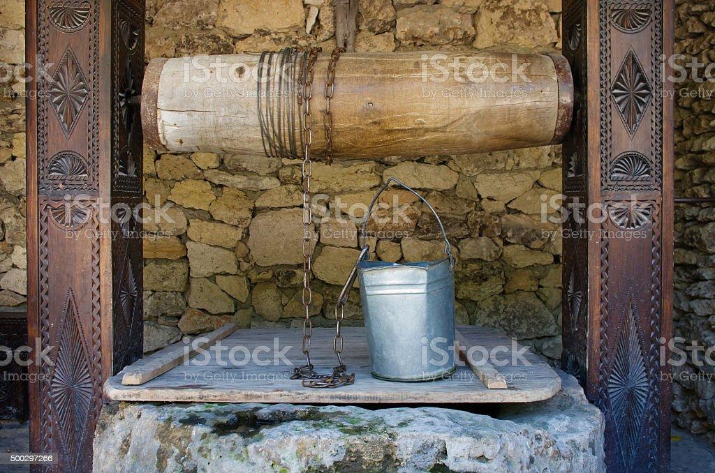 Water well in moldovian village, Moldova stock photo