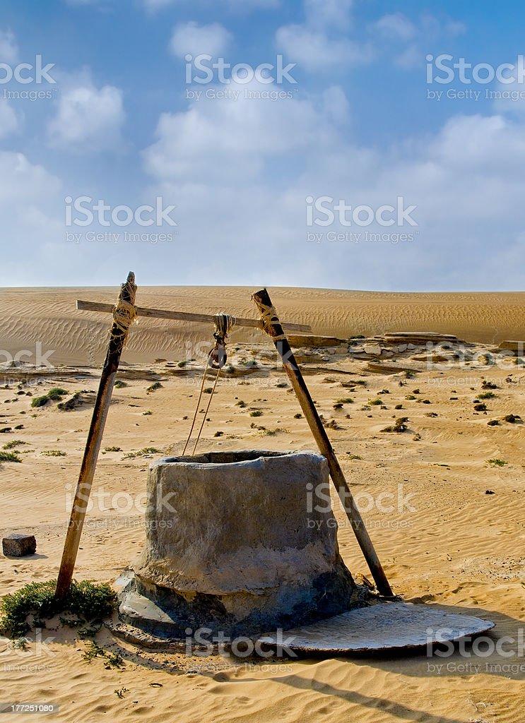 Water well in Oman Desert stock photo