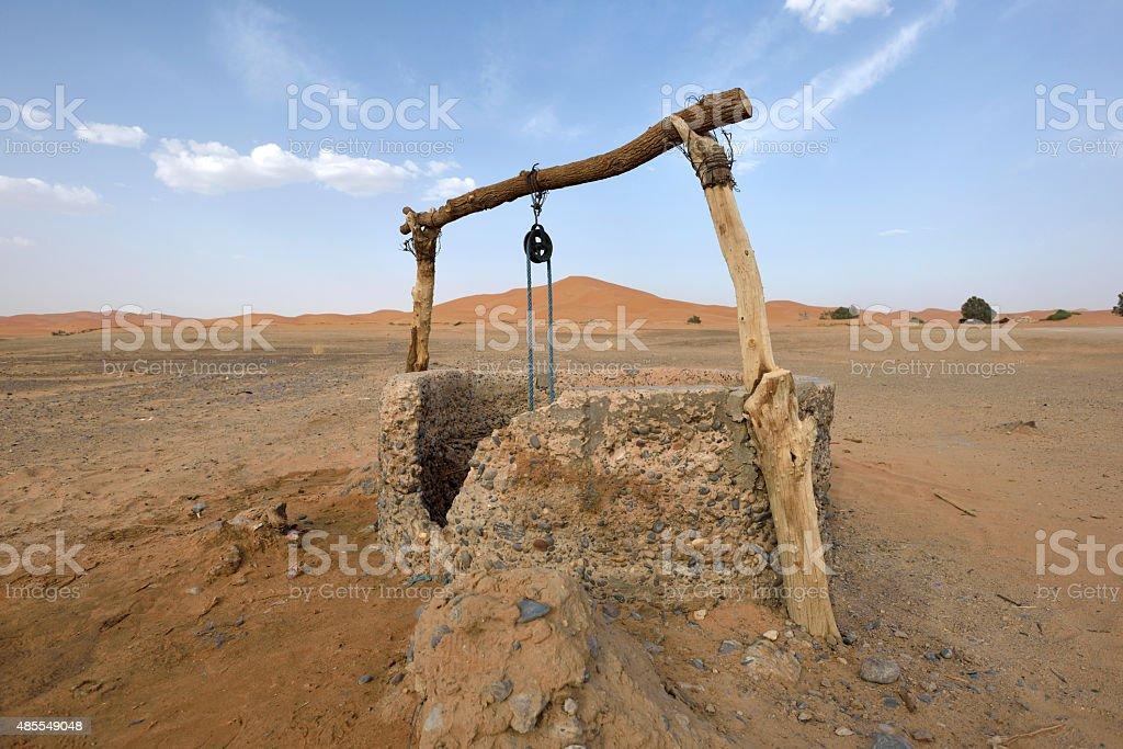 Water well in Sahara Desert, Morocco stock photo