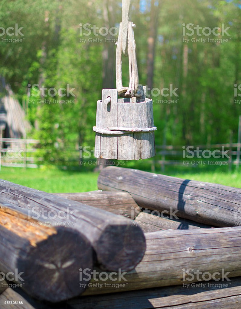 Water well in the old village. stock photo