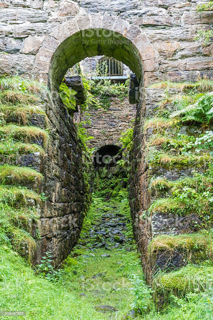 Water wheel Pit Pont y Pandy disused slate mill, wales, stock photo