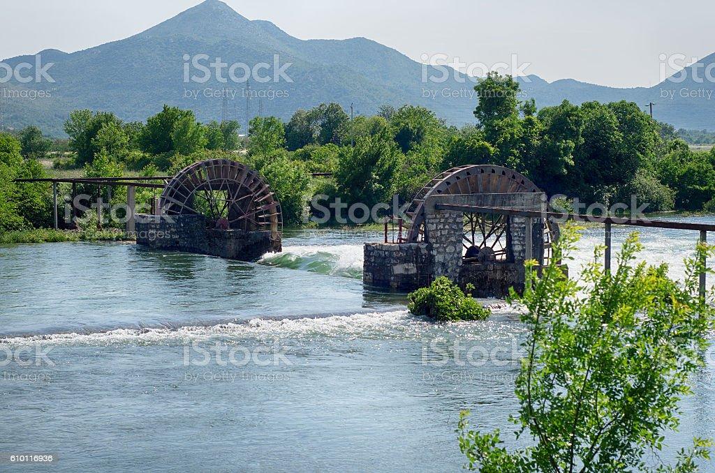 Water wheels in irrigation system near Trebinje. Bosnia and Herz stock photo
