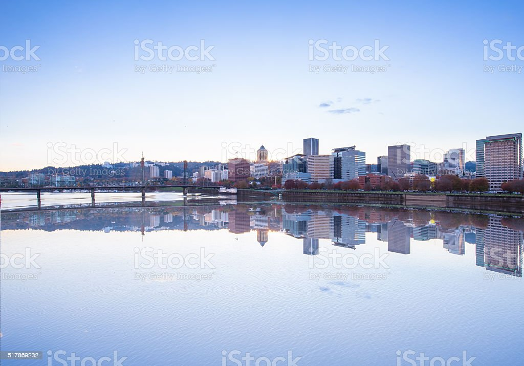 water with cityscape and skyline of portland in blue sky stock photo