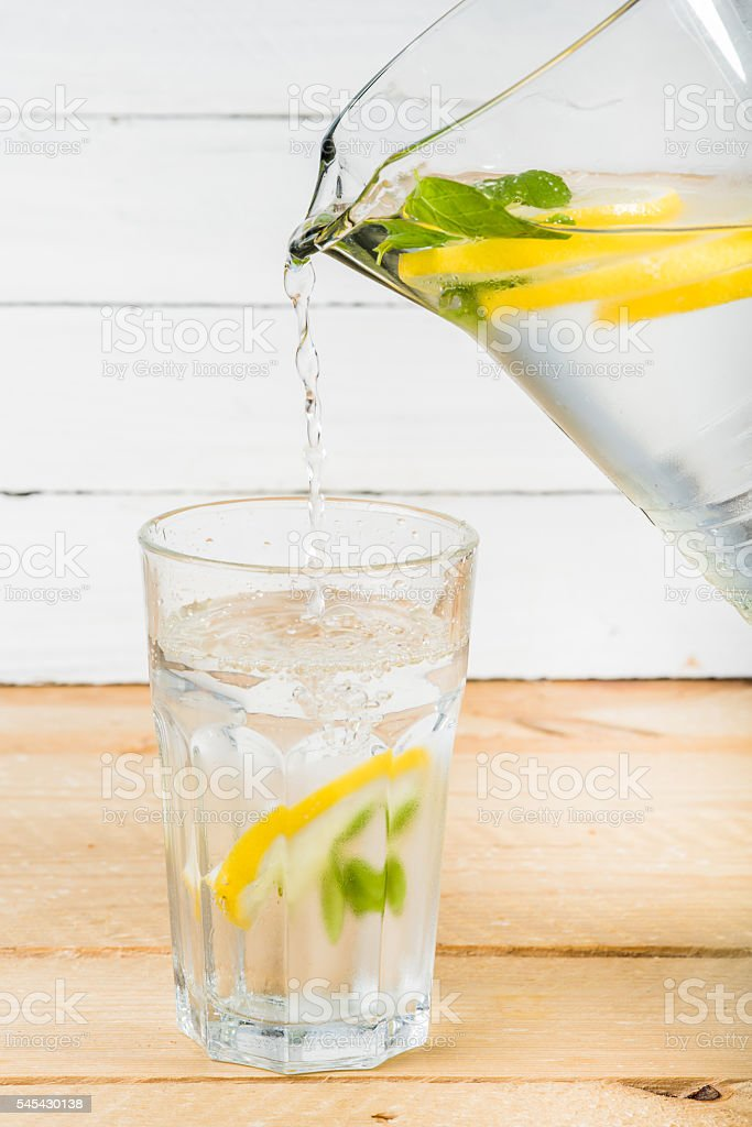 Water with lemon and mint stock photo