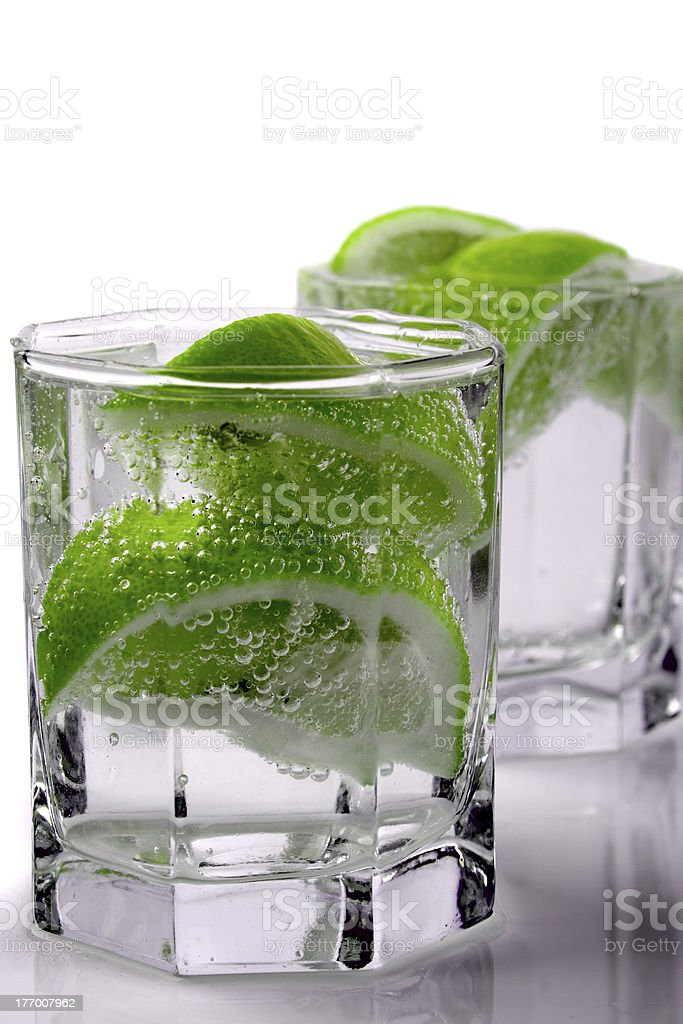 water with lime royalty-free stock photo