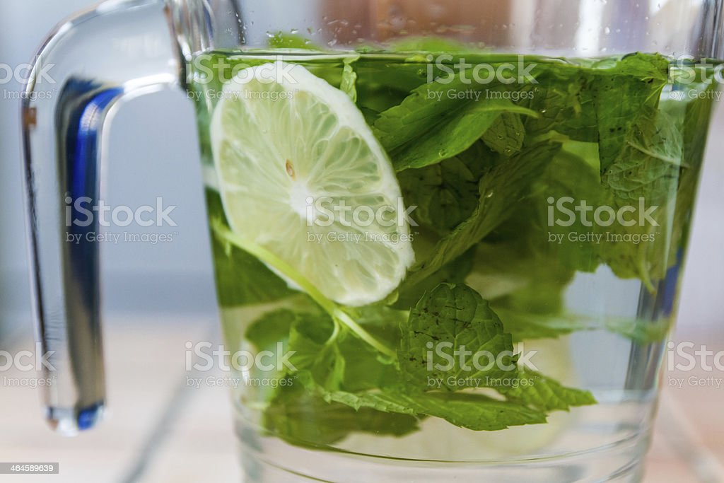 Water with mint and lemon stock photo