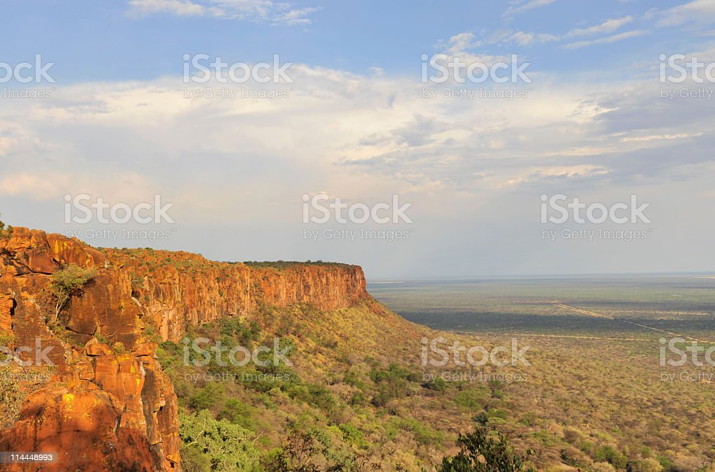 Waterberg Plateau in Namibia lit by the sun stock photo