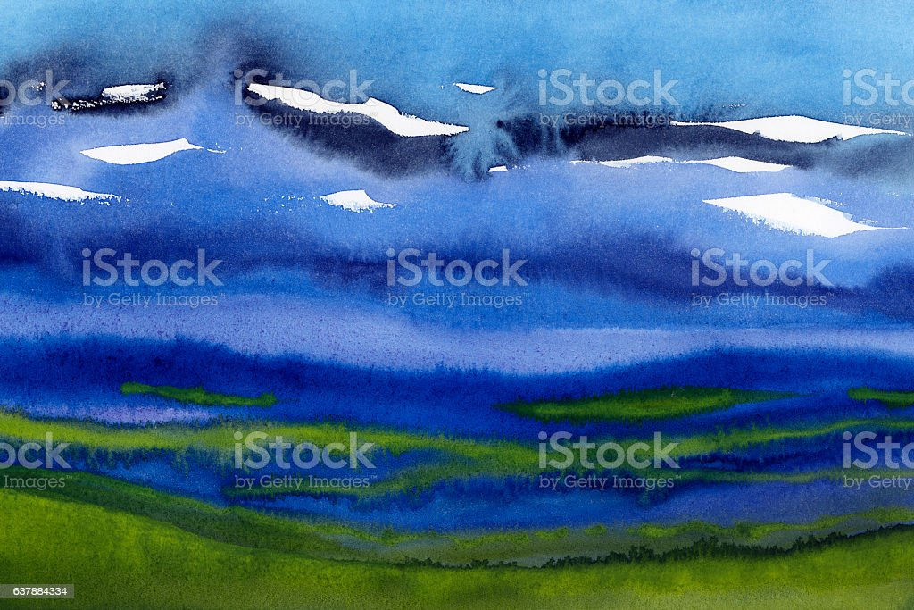 watercolor abstract landscape blue and green stock photo