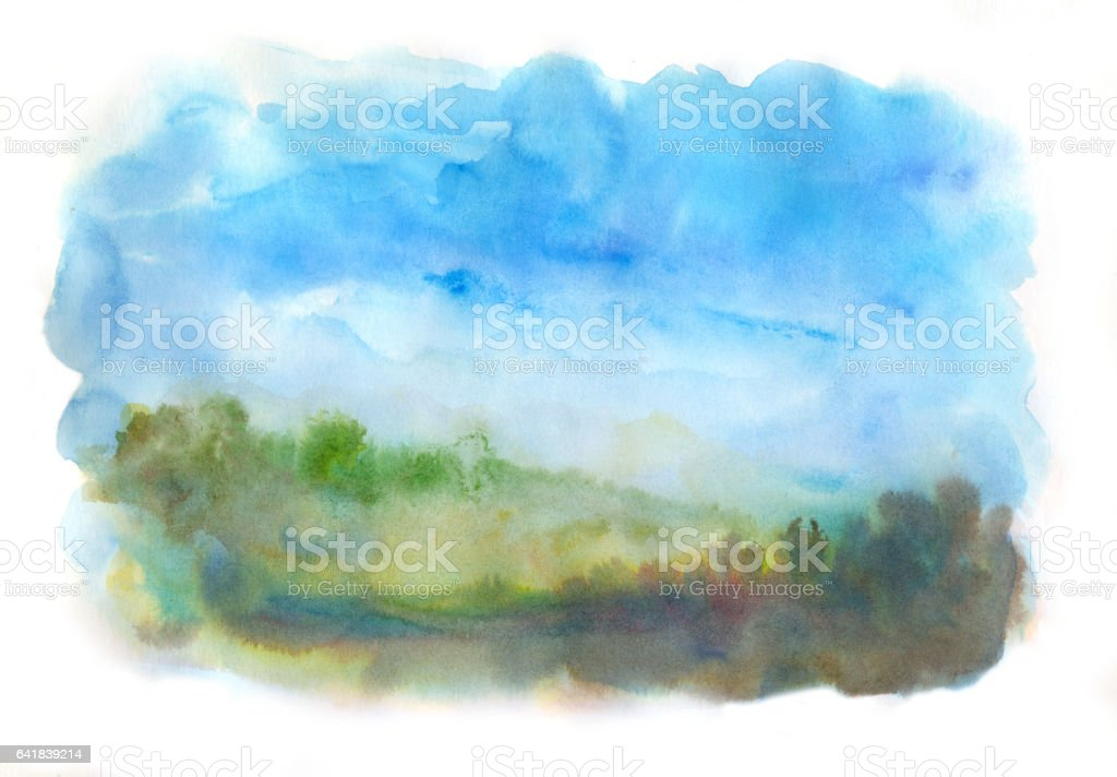 watercolor abstract landscape stock photo