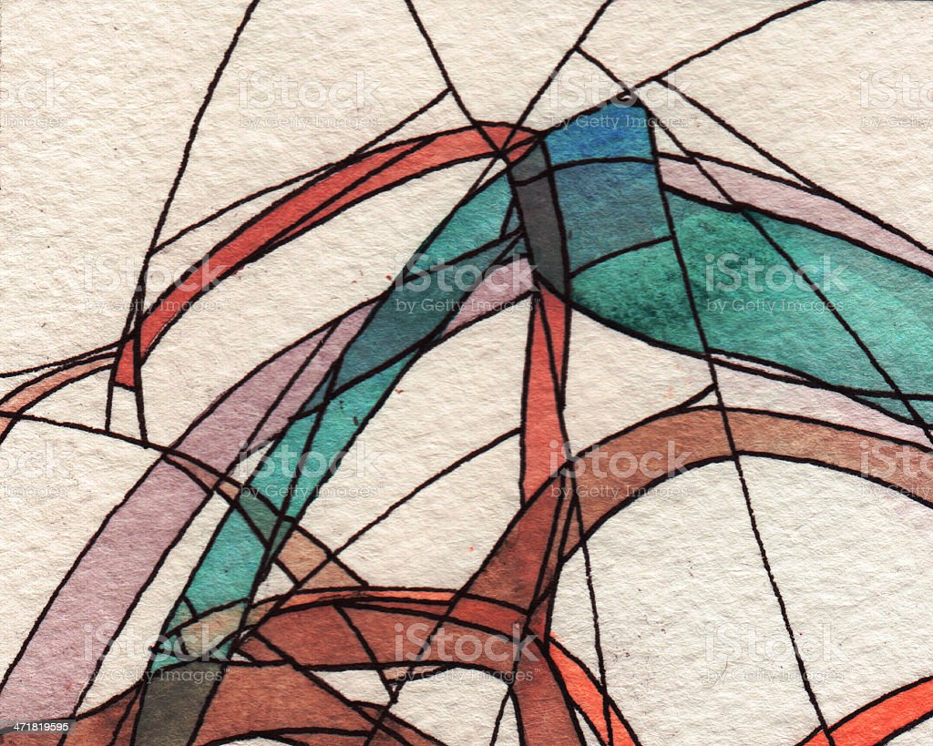 Watercolor and ink abstract background royalty-free stock photo