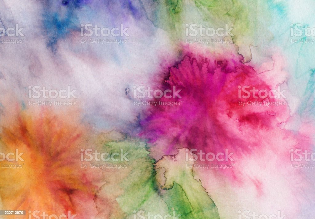 Watercolor and ink hand painted abstract background stock photo