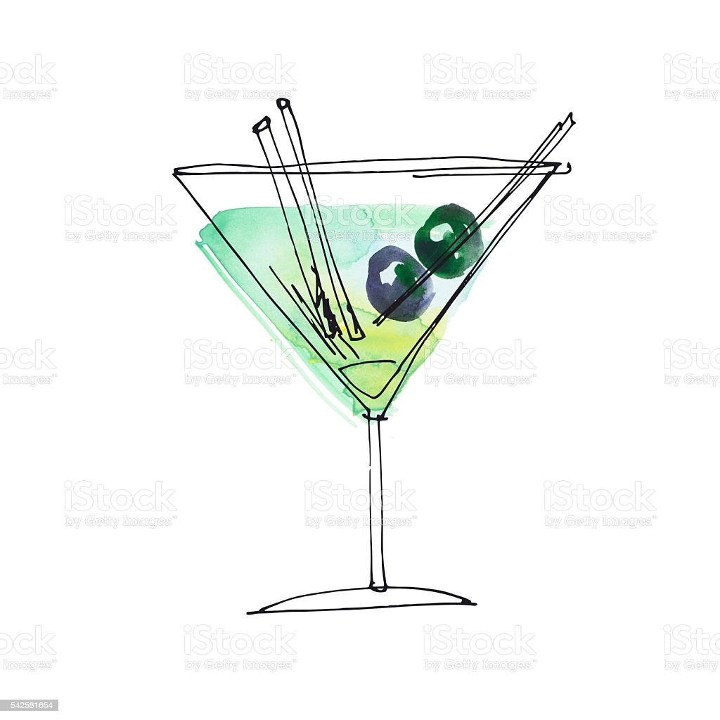 watercolor and sketch summer cocktail hand drawn illustration stock photo