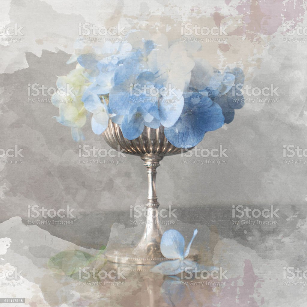 watercolor background with fresh flowers stock photo
