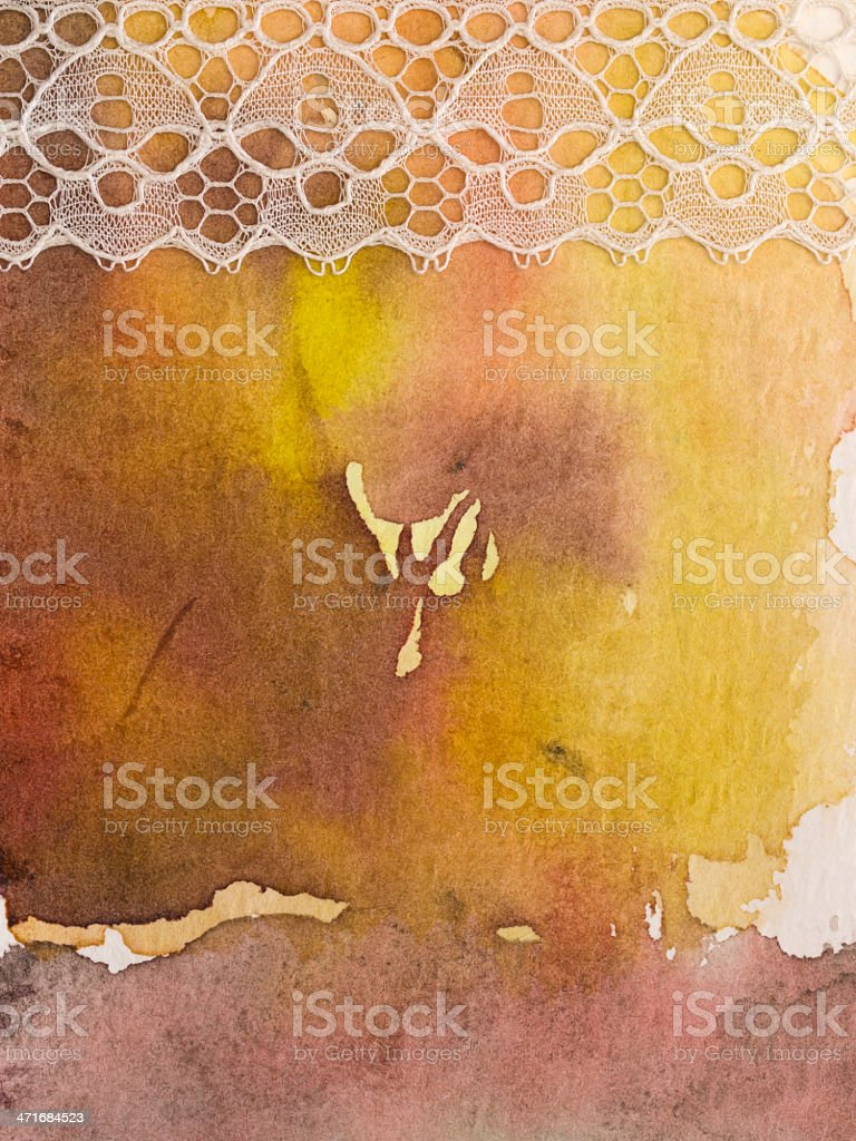 watercolor background with lace royalty-free stock photo